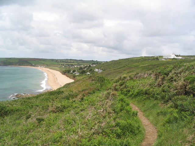 View to Praa Sands from South West Coast Path on Rinsey Cliff