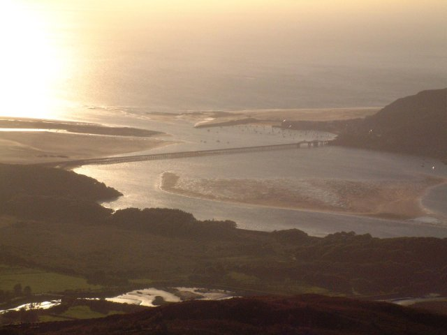 Barmouth Bridge from the summit of Bryn Brith