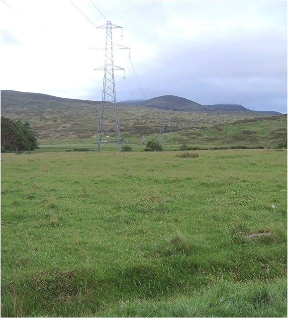 Electricity transmission lines crossing Glen Brora