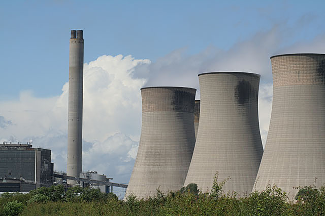 Chimney and cooling towers