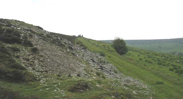 The incline viewed from the pit of Deeside Quarry