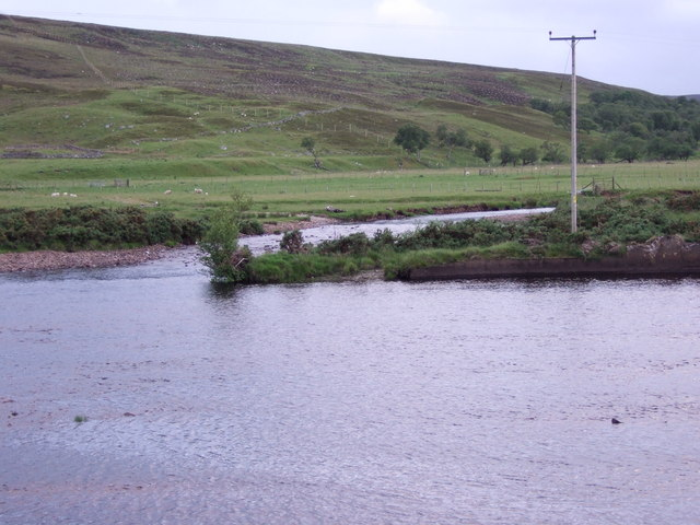Confluence of Black Water with the River Brora