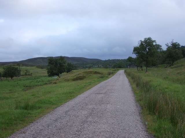 Unfenced road up Strath Brora