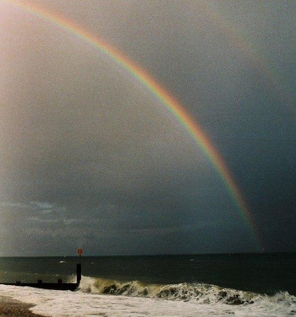 Groyne and rainbow