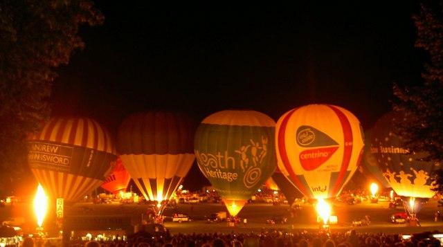 Night glow Bristol International balloon festival.
