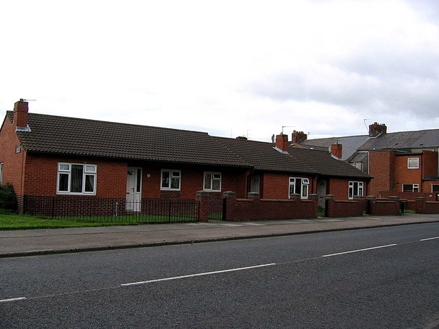 Bungalows standing on the site of the old Gilesgate Infant School.