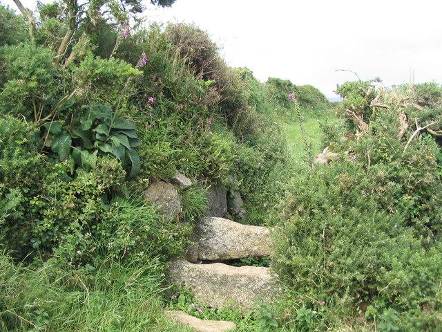 Stile through Cornish 'hedge'