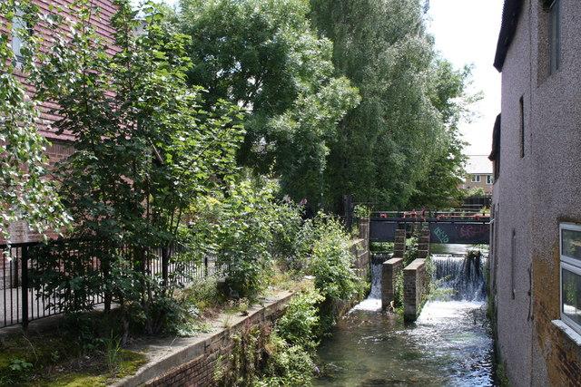 Sluices on the River Wandle, Carshalton, Surrey