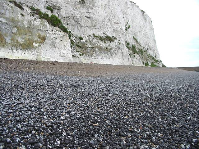 Chalk cliffs and pebble beach