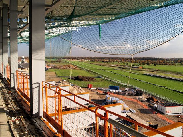 Finishing straight Doncaster racecourse new stand in construction phase.