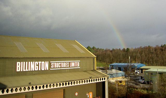 Rainbow over Mitchell's Main 'muck stack'.