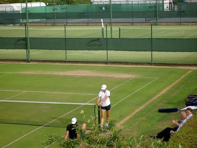 Martina Navratilova on practice courts, Wimbledon