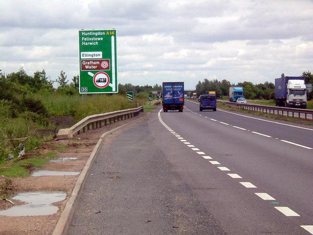 A14 eastbound