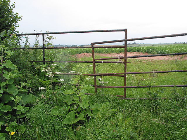 Gate across potato field Phocle Green