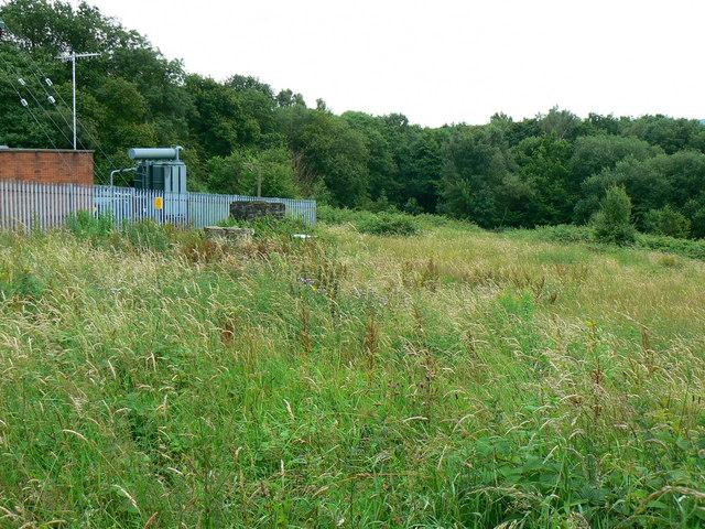 Electricity substation and scrubland near Graig-y-Rhacca