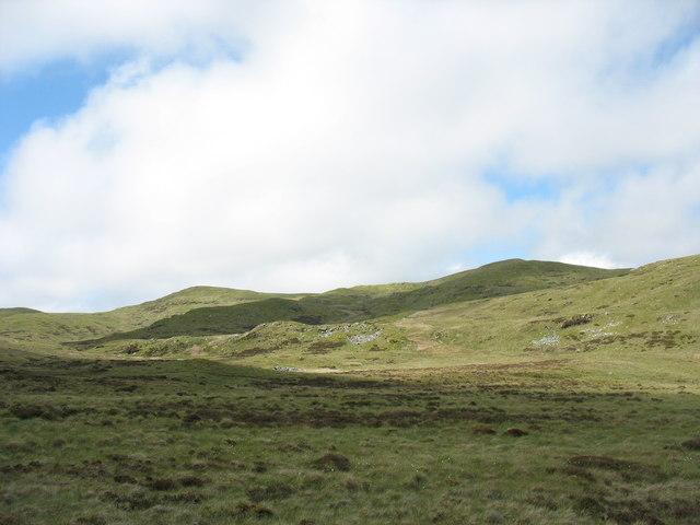 View west across the moor towards the slopes of Moel y Croesau