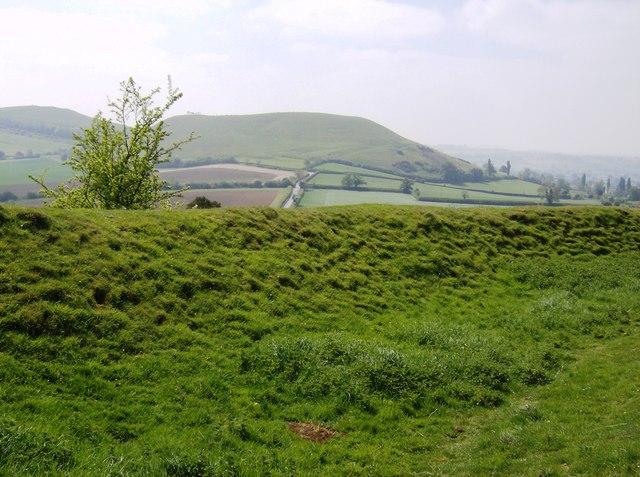 Ramparts of Cadbury Castle looking south