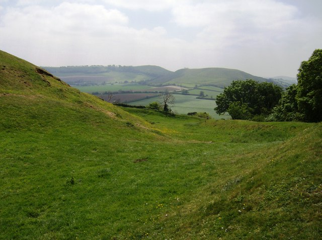 Ramparts of Cadbury Castle looking south