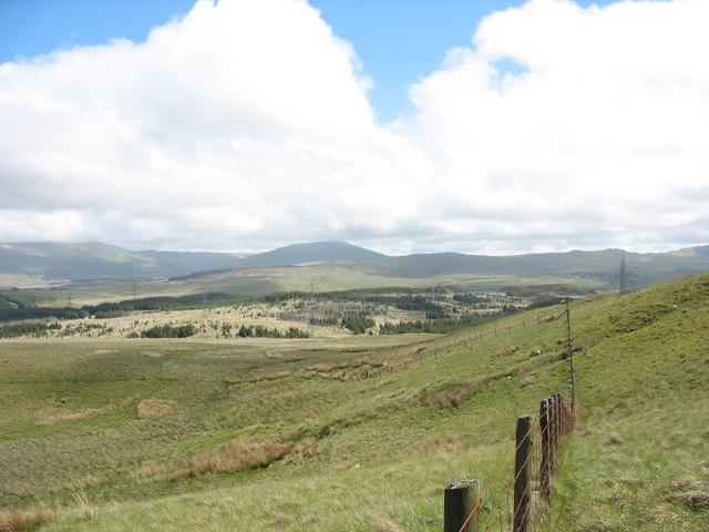 Farm boundary fence south of Llyn Cors-y-barcud