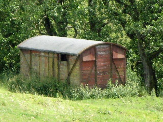 Old railway goods van near Fawley Sike