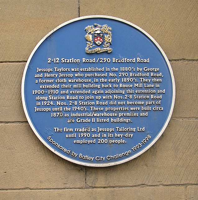Blue Plaque on Wall of Jessops Taylors - Station Road
