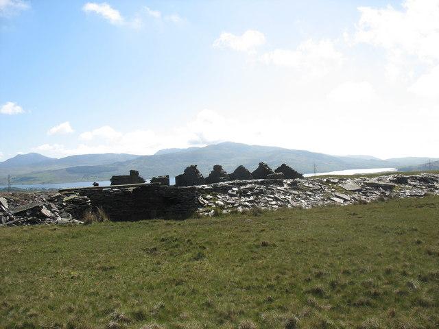 The ruins of Braich-ddu barracks beyond the tramway causeway