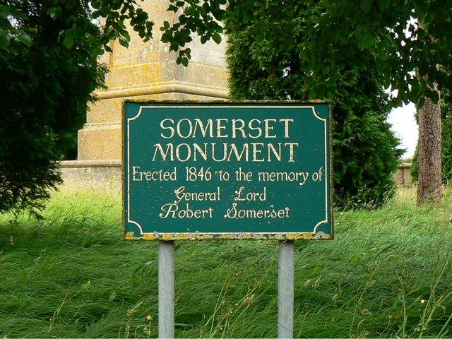 Somerset Monument signage, near Hawkesbury Upton