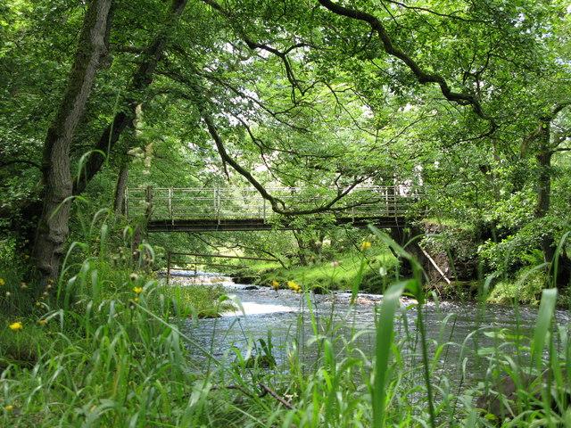 The footbridge across Warks Burn