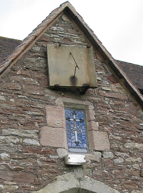 Sundial and stained glass features, All Saints Church