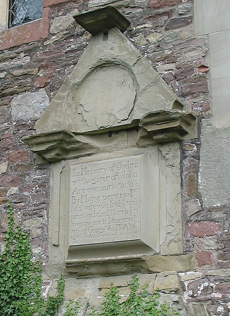 Weathered memorial, All Saints Church, Longhope