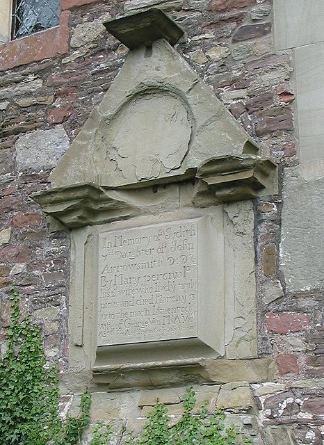 Weathered memorial, All Saints Church, Longhope