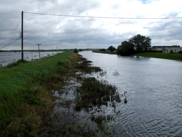 Flooding as seen from the road bridge at Short Ferry