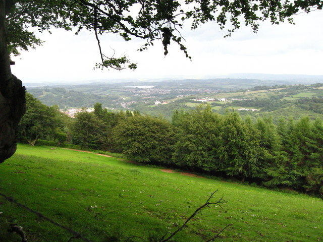 View over fields and woodland to Pontypool and beyond.