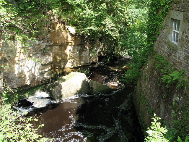 Warks Burn in its gorge at Ramshaws Mill