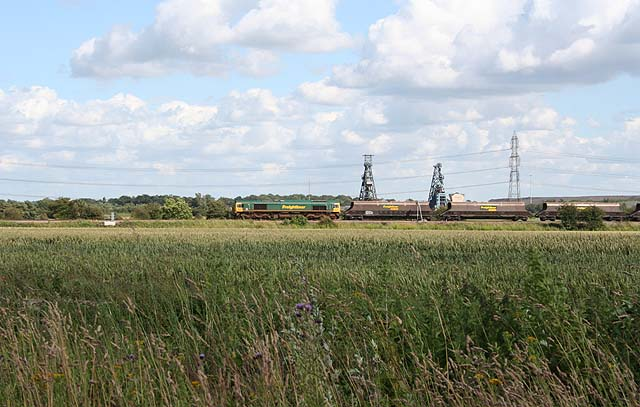 Freight train passing Rossington Main Colliery