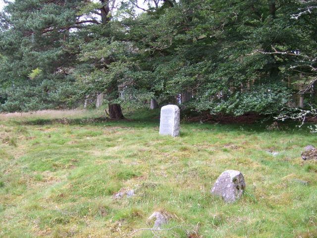 An inscribed memorial stone, off the South Deeside road near Balfour