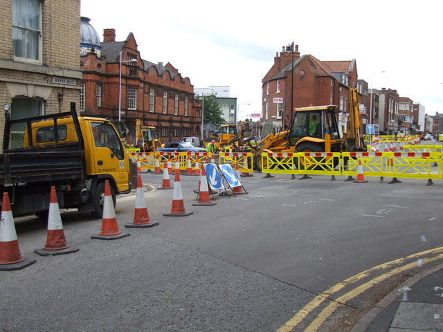 Roadworks at Monks Road, Lincoln