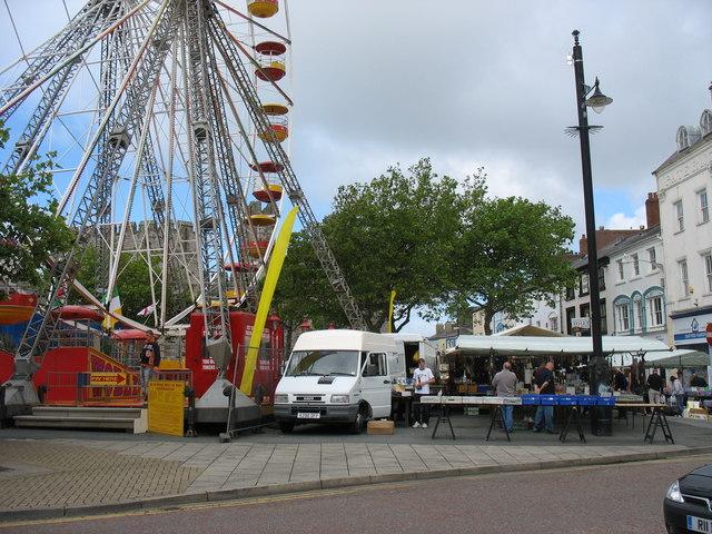 Saturday market beneath the Big Wheel