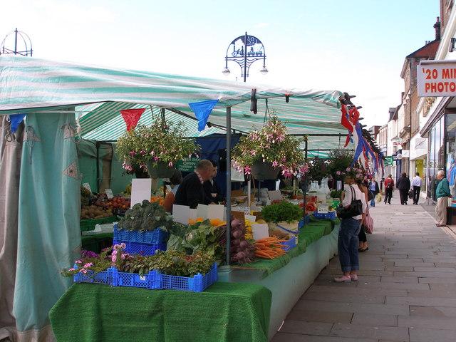 The first market stall on entering Stockton market