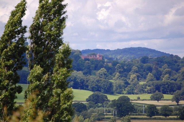 Powis Castle in the distance