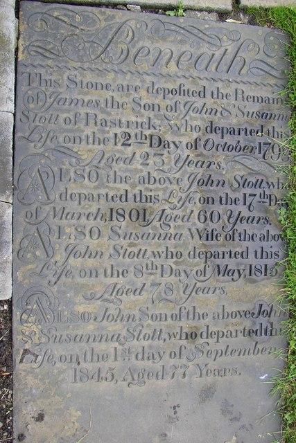 Grave stone in Rastrick Churchyard