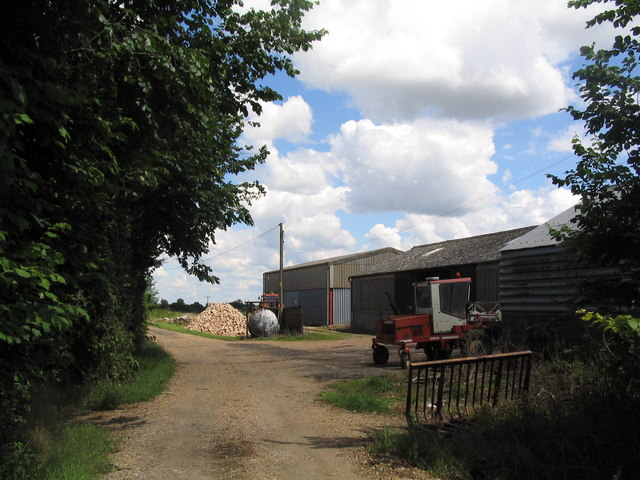 Farm buildings on track from Lodge Farm