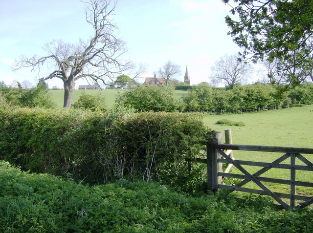 Looking back to Little Brington church