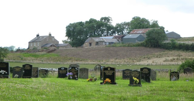The graveyard at Wark Church and Pasture House Farm