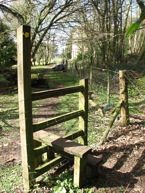Stile from the Wye Valley Walk into Piercefield Park