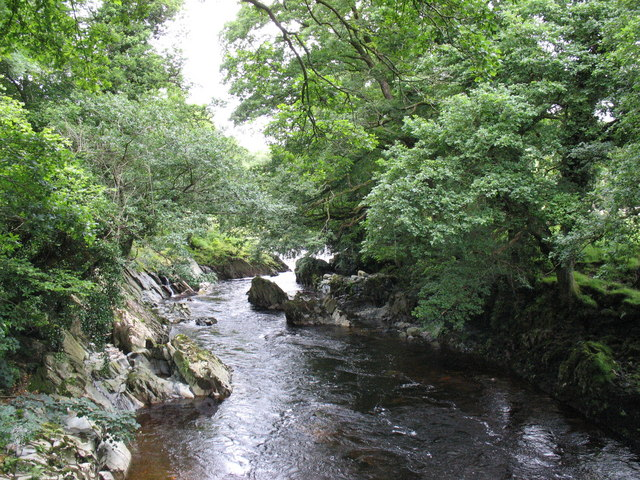 View upstream from the Ganllwyd footbridge