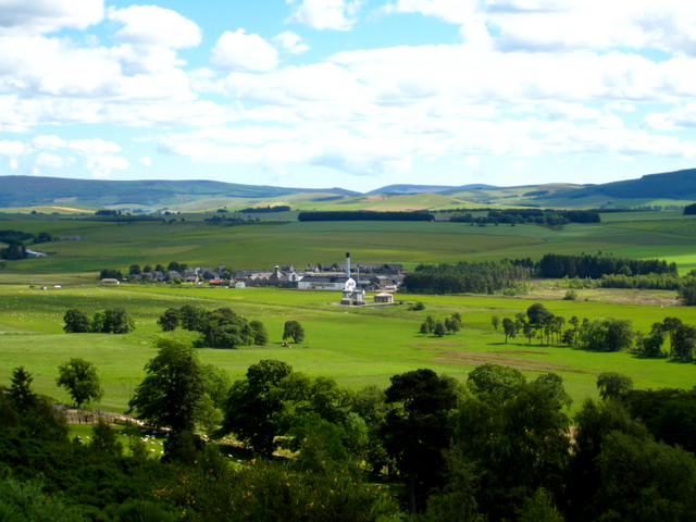 The Ardmore Distillery from the hill above Leith Hall