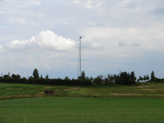 Mast and Pill Box near  R.A.F. Digby