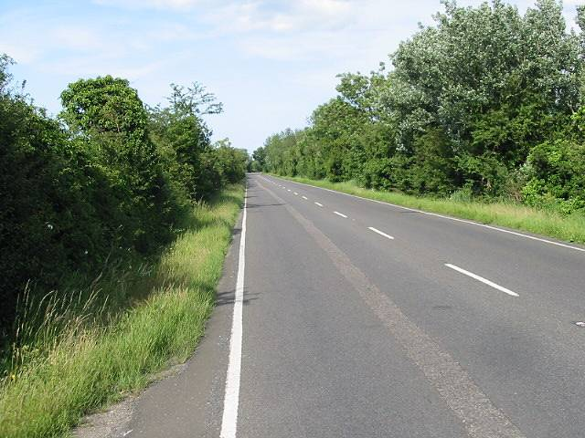 Looking NE along the A28 Island Road towards Sarre