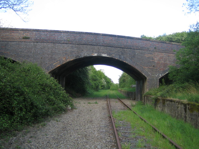 Road bridge over railway near Sandhill